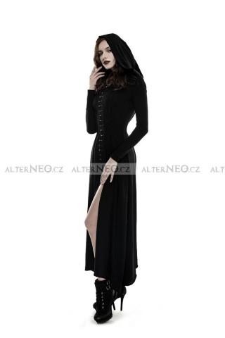 Gothic dlouhé černé šaty s kápí Punk Rave b509f08979