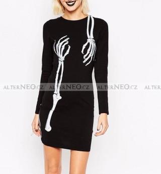 3c8f0222250 Černé gothic  punk šaty s dlouhým rukávem kost.