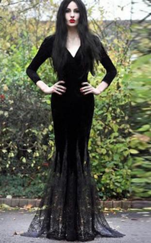 Gothic dlouhé černé šaty s kápí a šněrováním Punk Rave e1c1d6944c