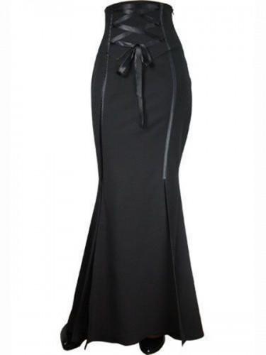 Steampunk gothic dlouhá černá sukně s vysokým pase. 312bdfad55